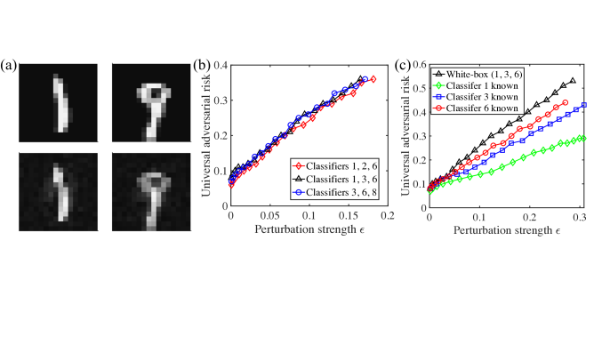 Numerical results on universal adversarial examples. In this figure, the adversarial examples are obtained through the qBIM algorithm with step size