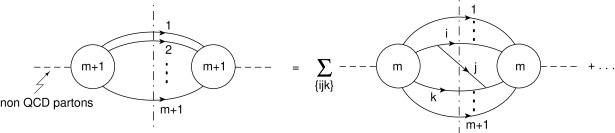Diagrammatic representation of the external-leg insertion rule. The blobs denote the tree-level matrix elements and their complex conjugate. The dots on the right-hand side stand for non-singular terms both in the soft and collinear limits.