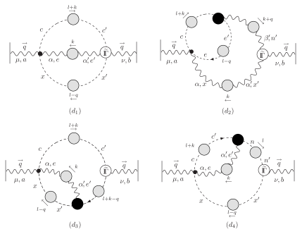 The ghost sector contribution to the two-loop dressed expansion. The black blobs are the conventional full gluon-ghost vertices, while the white ones represent ghost vertices with an (external) background gluon and two ghosts.