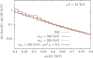 Full differential cross section at high invariant masses for the SM and the two choices of