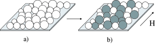 (a) Superconductor film consisting of grains of slightly different sizes. (b) The same granular array under applied magnetic field close to the average single-grain critical field. Varying magnetic field results in a change of the relative concentration of superconducting (white) and normal (gray) grains.