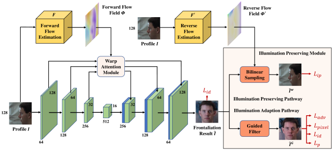 The architecture of our FFWM. Illumination Preserve Module is incorporated to facilitate synthesized frontal image