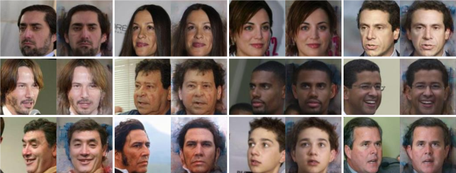 Additional synthesis results of the LFW dataset by our model. Each pair presents the profile (left) and the synthesized frontal face (right).