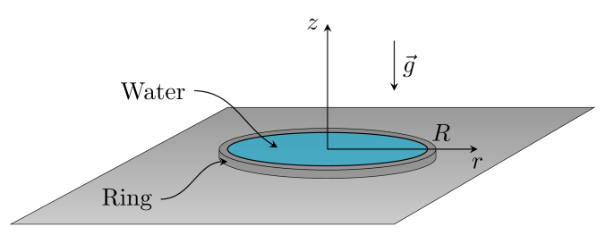 Sketch presenting the notations for the convective evaporation above a circular disk of volatile liquid.