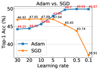 A comparison of accuracy using SGD and Adam for training backbone networks. The learning rates shown in the figure are in linear evaluation stage and we explore the optimal configurations for them to show the best capability of the two optimizers.