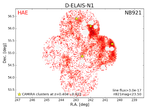 Spatial distribution of the HAEs at