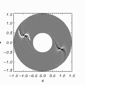 Ray trajectories superimposed on the density distribution for case C at time