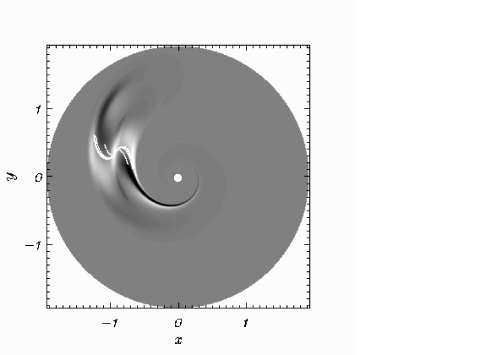 Ray trajectories superimposed on the density distribution for case A at time