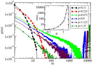 (Color online) Cluster statistics for the ABP-DPD model at a constant energy influx rate