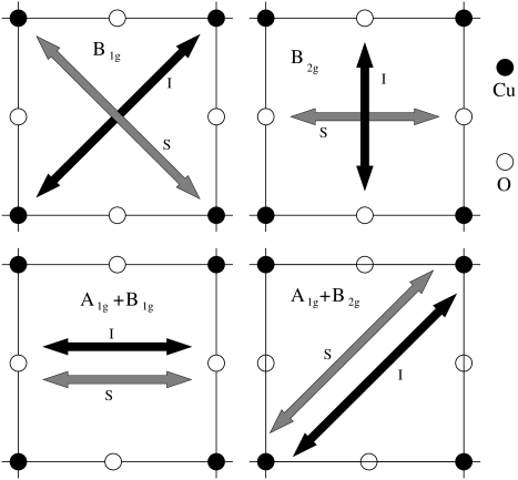 Relation between Raman symmetries and photon polarization. Incident (I) and scattered (S) polarizations are shown. With crossed polarizers B