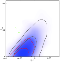 Constraints by using WMAP3 (red) vs WMAP1 (black) plus CMBsmall+2dF on (