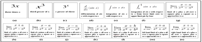 Example of sensitivity of variables, operators and their positions while reading the equations. Only '