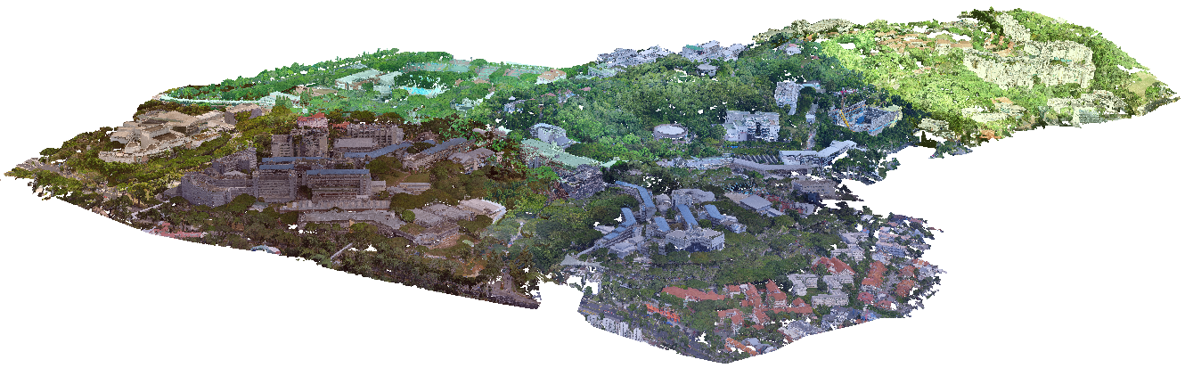Overview of six regions of the Campus3D dataset.