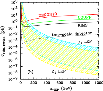 Left) Theoretical predictions for the SI LKP-nucleon scattering cross section as a function of the LKP mass for the LKP candidates discussed in the text. Right) Predictions for the SD LKP-proton cross section. Figures extracted from
