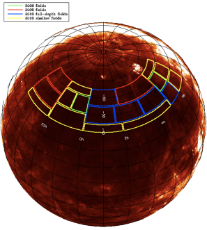 Outlines of the SPT-SZ survey fields overlaid on an orthographic projection of the IRAS