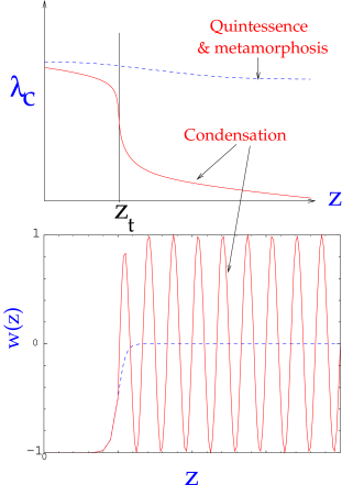A schematic figure showing the difference between condensation and metamorphosis & quintessence.