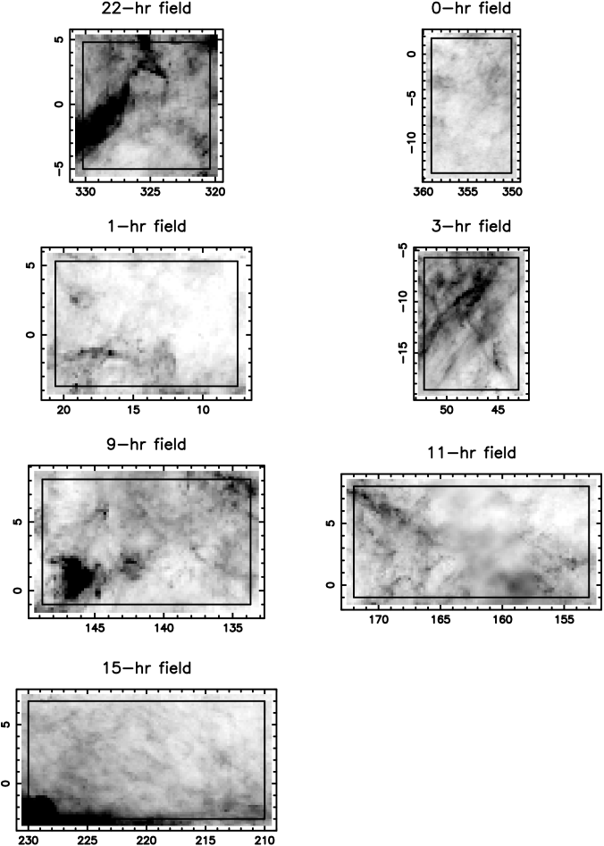 Distribution of dust in each of the survey fields. The grey scale shows the