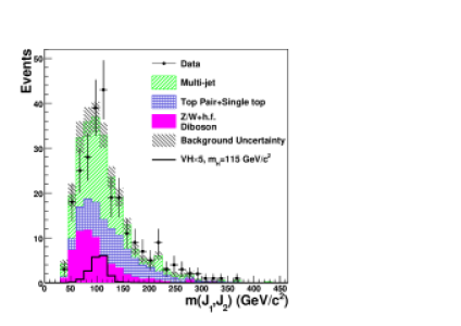 Dijet invariant mass distribution for double-tagged events in signal region.