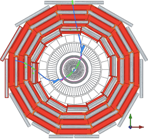 : a cosmic ray muon measured by CMS, strongly bent in the transverse plane by the 3.8T solenoid field.