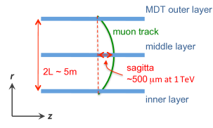 Sketch for the muon sagitta measurement in ATLAS. For a 1 TeV