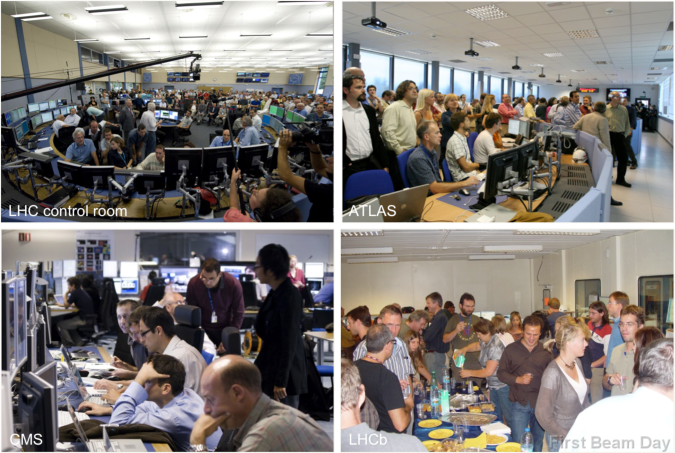 Snapshots taken on 10 September in the LHC (upper left), ATLAS (upper right), CMS (lower left), and LHCb (lower right) control rooms, exhibiting untypical occupancy.