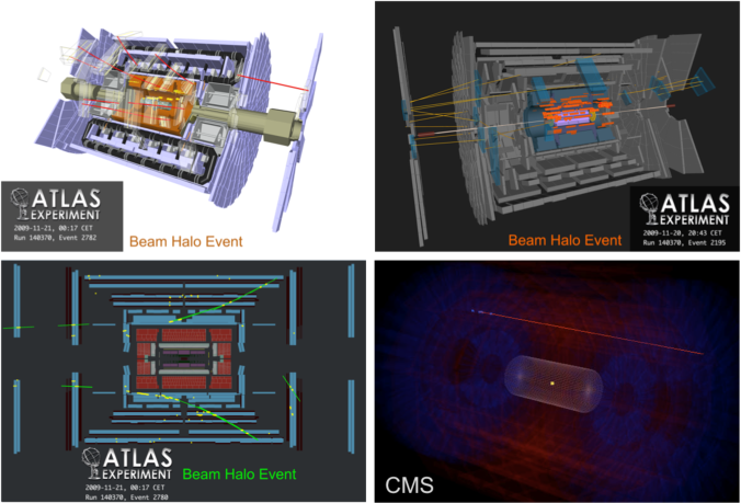 Beam-related background events with halo muons taken by ATLAS and CMS (lower right) in November 2009.