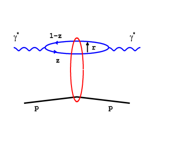 The interaction of a quark anti-quark dipole with a proton.