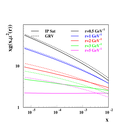 The gluon structure function for various dipole sizes. The dipole size determines the evolution scale