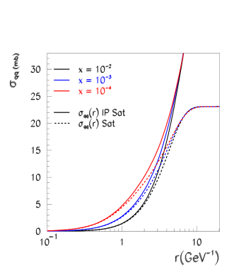 The integrated dipole cross section as a function of the dipole size. The solid and dashed curves trace the dipole cross-section in the IP Saturation model and the saturation model of Ref.