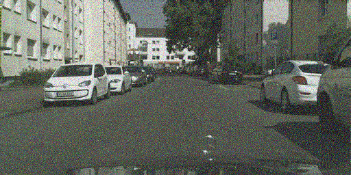 Illustration of Cityscapes-C using many transformations of ImageNet-C. First row: Motion blur, defocus blur, frosted glass blur. Second row: Gaussian blur, Gaussian noise, impulse noise. Third row: Shot noise, speckle noise, brightness. Fourth row: Contrast, saturate, JPEG. Fifth row: Snow, spatter, fog. Sixth row: frost