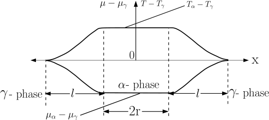 Assumed distribution of temperature T and chemical potential