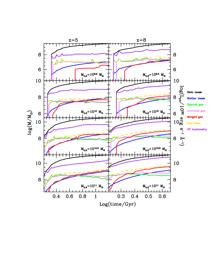 Galaxy assembly as a function of cosmic time. For the halo mass value given in each panel, we show the assembly of galaxies with halo masses in the range