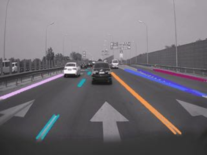 Illustrative results. The original images along with the corresponding lane edge proposal maps and final detection results are presented. In the final results, different lanes are marked in different colours.