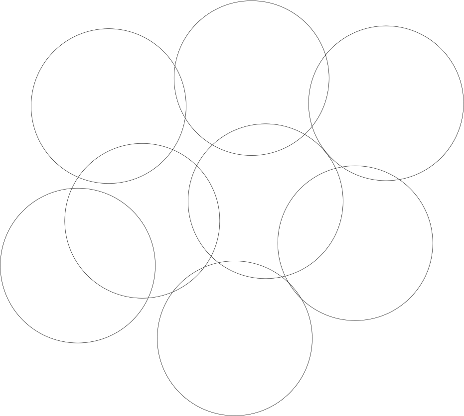 A 2D slice of the D=4 vacuum of G(2) gauge theory. There is only one type of domain, corresponding to the single element of the center subgroup.