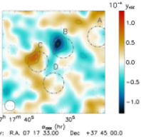 NIKA constraints on MACSJ0717.5, using 150 & 260 GHz to reconstruct the tSZ (left) and kSZ (right) effect signals and to clean for contaminants. The tSZ effect map reveals