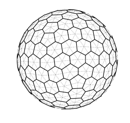 Left: ahexagonal–icosahedral mesh with 162 cells and 642 degrees of freedom. Right: acubed-sphere mesh with 216 cells and 648 degrees of freedom. Continuous lines are primal mesh edges, dotted lines are dual mesh edges.