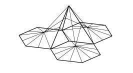 Typical compound basis elements of the function spaces on a square mesh (left) and a hexagonal mesh (right). structures. Top row