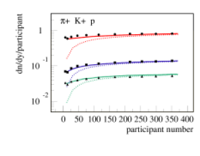 Rapidity density dn/dy per participant as a function of the number of participants, for