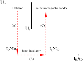 Schematic phase diagram of the generalized Hubbard ladder (