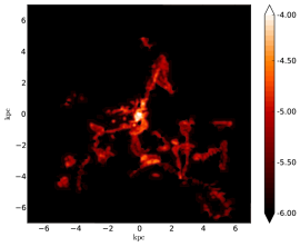 Top: surface brightness of the ionized UV gas (
