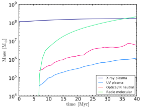 Accretion with cooling and rotation: evolution of mass for each of the major multiphase components (§