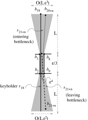 All segments have to be inside of the shaded region when moving through the bottleneck, i.e., must be close to being vertical. (Horizontal scale and size of the bottleneck are vastly exaggerated to allow sufficient resolution. In scale, the shaded region is basically a vertical line.)
