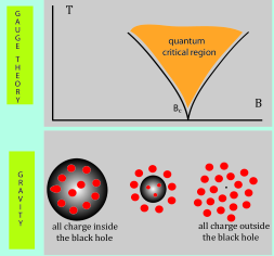 The holographic picture dual to a meta-magnetic quantum phase transition is given by the gradual expulsion of electric charge from the region interior to the event horizon of a black brane to the region outside the horizon. The quantum critical point corresponds to the transition point at which all electric charge resides outside the horizon of the black brane.