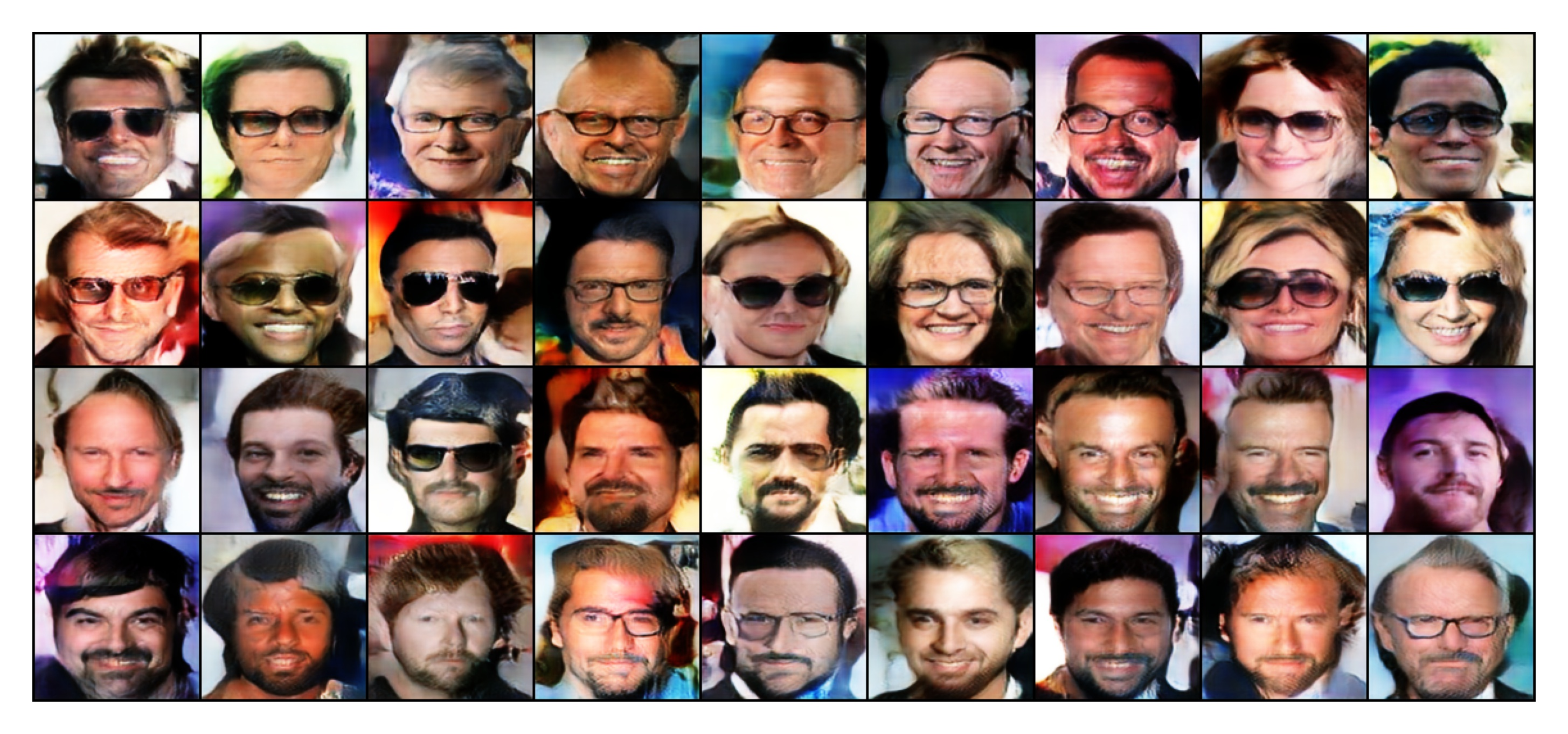 Images generated with Langevin Monte Carlo sampling conditioned on the class eyeglasses (top two rows) and on the class facial hairs (last two rows).