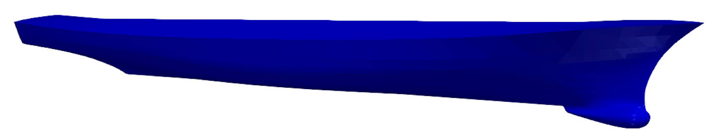 Complete hull domain representing the DTMB 5415 and, on the right, a zoom on the bulbous bow.