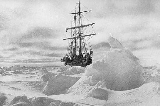 Left: The Endurance trapped in ice;