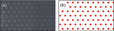 Superconducting film patterned with a hexagonal lattice of defects.