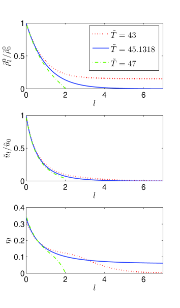 (Color online) Typical FRG flow of the condensate density, the anomalous dimension and the dimensionless interaction