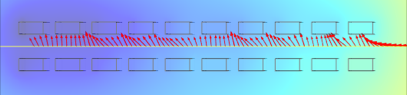 """Simulated """"FET-to-FET"""" trajectory for an electron in the inner detector volume."""