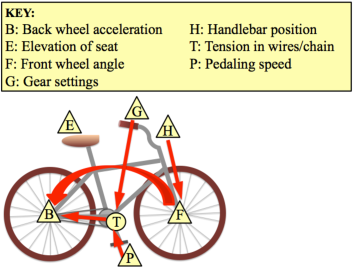 A causal graph describing the functioning of a bicycle. The gear settings